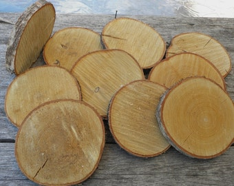 "WHITE BIRCH Wood Slices 4 1/2"" - 5"" Diameter by 1/2"" - 3/4"" Thick - Rustic Party Decor, Product Display, Photo Prop, Tree Branch Slices"
