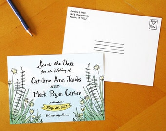 A Southern Romance: Painted Save the Date Postcards