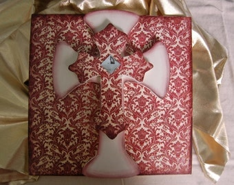 Damask  layered Cross on Sign in Reds and Cream, 12x12 covered with designer paper, Bling clear stone on top(146D)
