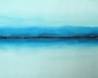 """Abstract winter landscape, original watercolor painting, Chilled Horizon, by Patricia O'Connor 22""""x12"""""""
