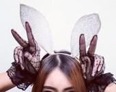 Bunny ear white lace headband Party headband