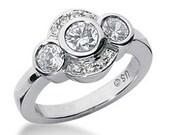 0.93ct Three 3 Stone Diamond Fashion Cocktail Engagement Ring 14k White Yellow Rose Pink Gold (R1314)