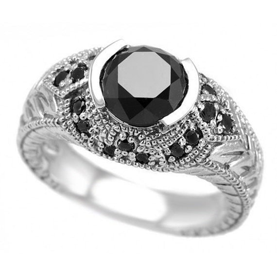 2 45 Carat Massive Vintage Antique Style Round Fancy Black Diamond Engagement