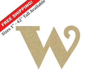 "Unpainted Wooden Letter ""W"" – Unpainted, Decorative Font -- Perfect for Crafts, DIY, Nursery, Kids Rooms, Weddings – Sizes 1"" to 42"""