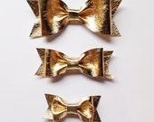 Metallic Gold Leather Bow on Elastic or Alligator Clip - Large, Small, or Tiny Bow Size