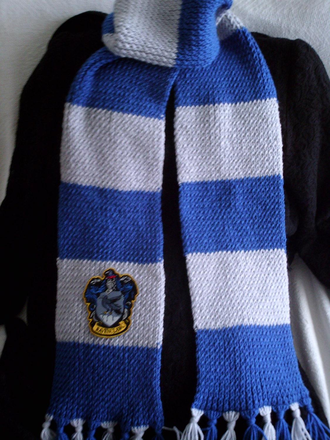 Ravenclaw Scarf Knitting Pattern : Harry Potter Ravenclaw knit scarf with crest patch by AinsDesign