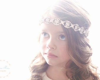 Rhinestone Headband, Rhinestone Flower Girl Headband