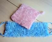 Knit  Bath Scrubber Wash Cloths - Set of 2 - Machine Washable Fuzzy Wash Cloths Bath and Beauty Bathroom Accessories