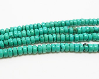 """16""""    Green  Turquoise   Rondelles   Bead  4mm x 2mm"""