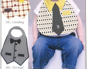 """Pattern """"Dude Babies Masculine Bibs"""" Paper Sewing Pattern by Vanilla House Designs (P189)"""
