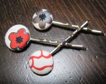Nippon Cotton Covered Button Bobby Pins - Set of 3