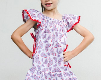 Butterfly Dress PDF Sewing Pattern, girl's downloadable dress pattern and sewing tutorial sizes 0 to 10 years by Felicity Sewing Patterns