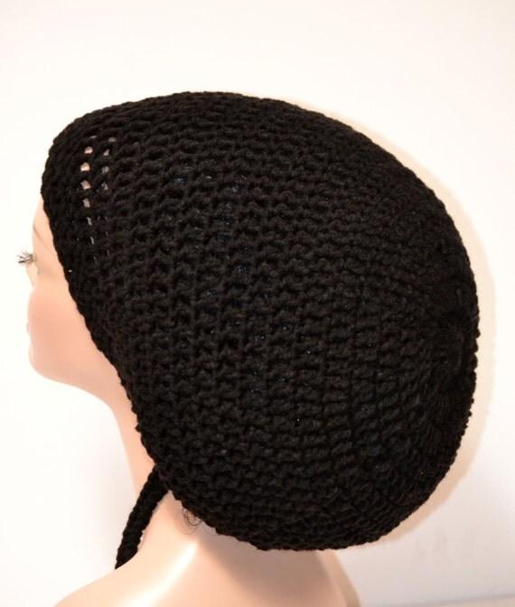 Men's Crochet Black Rasta Tam. Unisex Dreadlocks Hat. Mega Dreadlock Hats For Men
