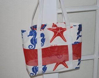 Tropical Print Mesh and Canvas Bag