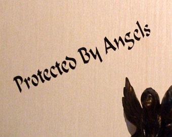 Protected By Angels  Vinyl Decal  Angel Faerie  Pixie  Angelic Bumper Decal  27 cm x 4 cm