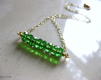 Green Crystal Row Necklace, Green Crystal Discs, Swing Necklace, Trapeze Necklace