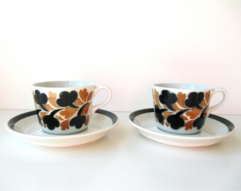 Arabia Finland Cup And Saucers By Anja Jaatinen-Winquist, Demitasse, Mocha Cups
