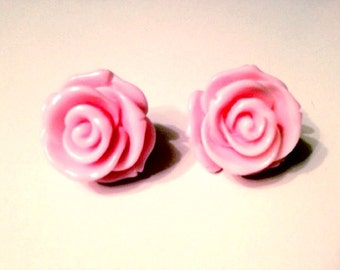 Candy PINK Resin Rose Post Earrings Pin Up Girl Vintage Retro