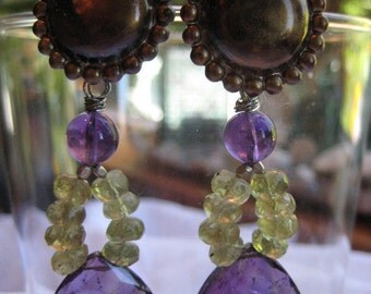 SALE- 20.00 off -Patinaed Sterling Post Earrings With Amethyst  Briolettes and Green Garnet Rondelles