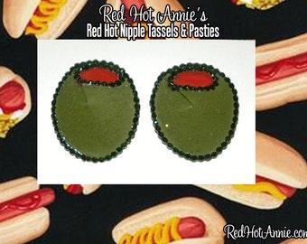 Rhinestone Martini Olive Burlesque Pasties (Green)