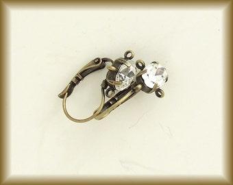 Rhinestone Earring Findings, Antiqued Brass Lever Back