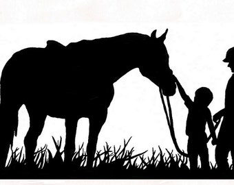 Horse-Horse decal-Horse sticker-Horse vinyl wall decal-Horse and Family-Large decal 27 X 51 inches. 211-HS
