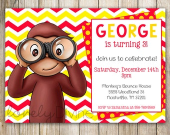 Curious George Birthday Party Invitation Jpg 340x270 1st