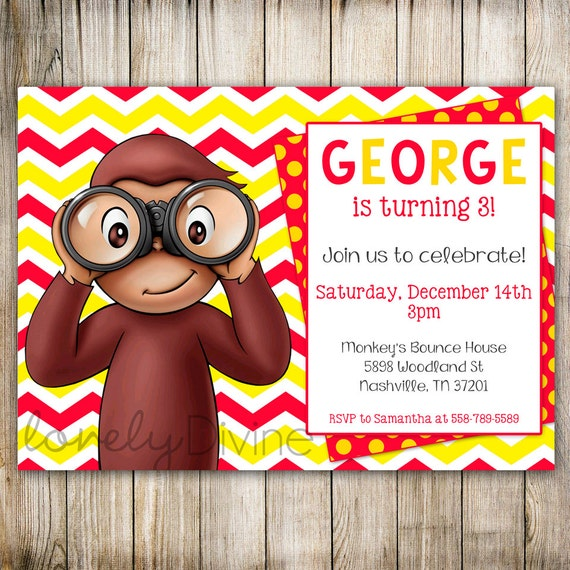 curious george chevron birthday 1st birthday invitation 2nd, Birthday invitations