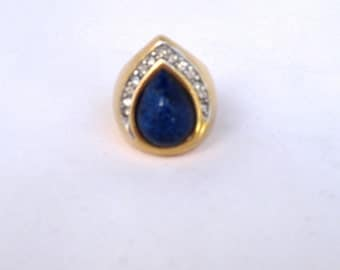 Vintage Teardrop Blue Stone Ring with Pavé Crystals