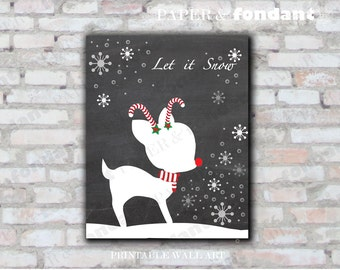 INSTANT DOWNLOAD - PRINTABLE Holiday Poster - 8x10 Deer silouette - Let it Snow