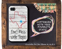 Texas iPhone 6 Case, Personalized iPhone Case, State Love Texas Plastic iPhone Case, Phone 4, 4s, iPhone 5, 5s, 5c, iPhone 6, iPhone 6 Plus