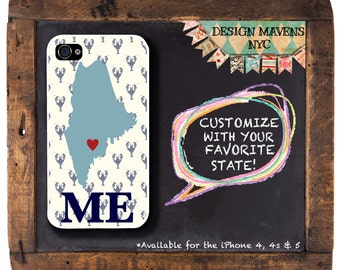 Personalized iPhone Case, State Love Maine Lobster  iPhone Case, Fits iPhone 4, iPhone 4s & iPhone 5, Phone Cover, Phone Case