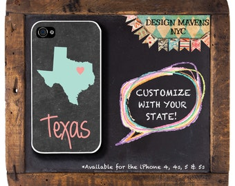 Personalized iPhone Case, State Love TEXAS Plastic iPhone Case, iPhone 4, 4s, iPhone 5, 5s, iPhone 5c, iPhone 6,  Phone Cover, Phone Case