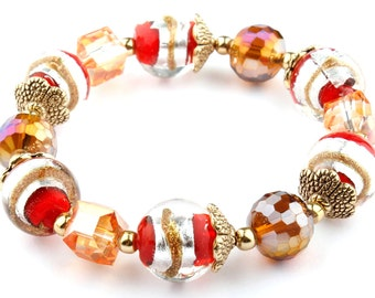 Red Murano Glass Beaded Stretch Fashion Bracelet with Gold Bead caps