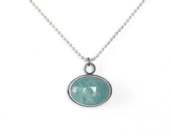 Aquamarine silver necklace ,oxidized silver necklace,blue pendant necklace