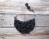 Black Rope necklace Black statement necklace - NasuKka