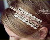 Gold and Ivory Headband - Girls Headband  - Ladies Headband - Sparkly Headband