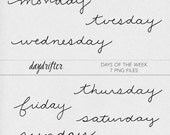 INSTANT DOWNLOAD - Days of the Week Word Art Stamps - Photo Overlays Photographer Tools Digital Scrapbooking Date Stamps for Digi Scrap Art