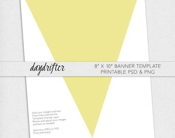 """Print Your Own 8"""" x 10"""" Triangle Pennant Banner - DIY Digital Download Party Template"""