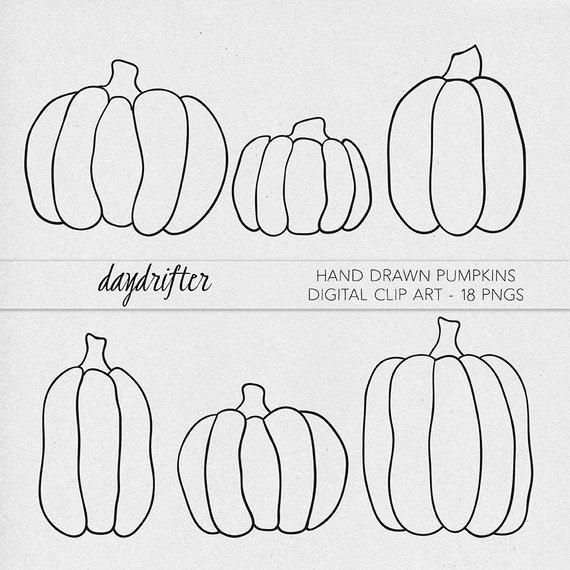Hand drawn pumpkin clip art printable digital clipart