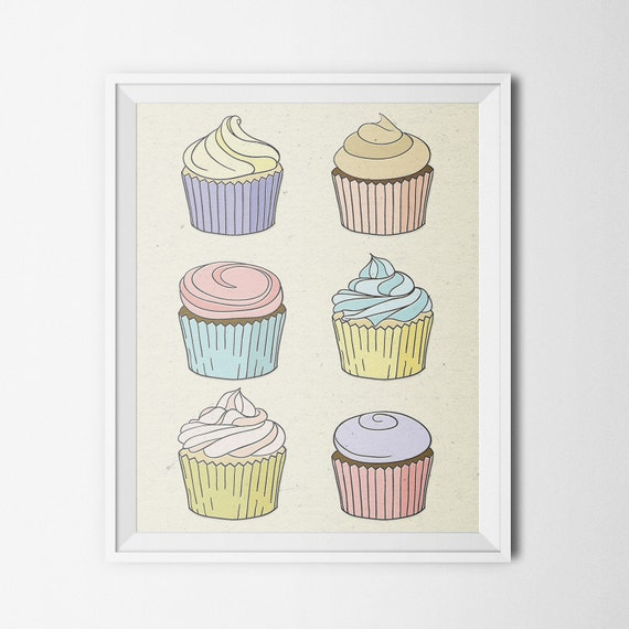 Items similar to Vintage Bakery Cupcake Art Print ...