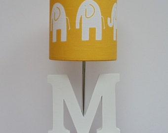 Handmade Yellow/White Elephant Drum Lamp Shade - Great for Nursery or Baby's Room
