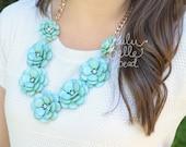J. Crew Inspired - Mint Rosette Necklace - Handmade - Rose Necklace