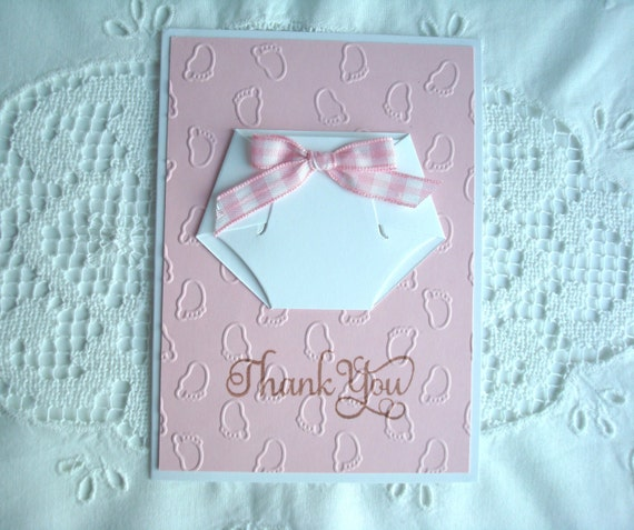 thank you baby girl diaper handmade card with