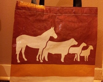 Recycled Feed Bag Tote, reusable tote bag, grocery tote, recycled shopping bags, reusable grocery bag, recycled totes All Stock Bottom Half