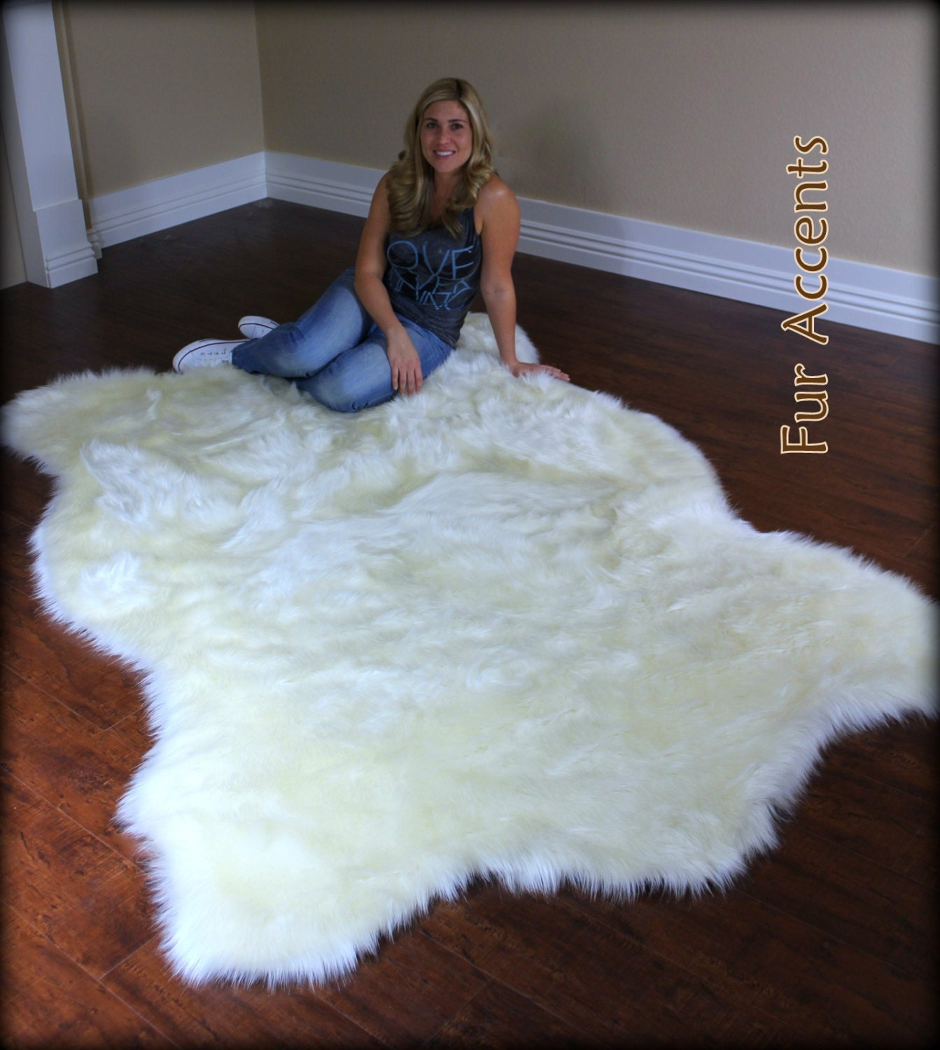 Large Polar Bear Accent Rug / Faux Fur / Fake Bear By