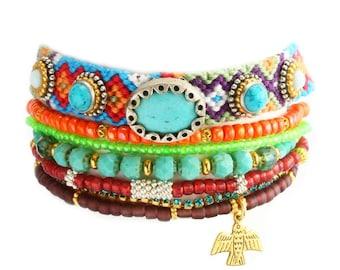 Friendship Bracelet,Native,Swarovski,Thunderbird,Neon,Turquoise Jewelry Set of 7,bohemian,indian,Ethnic,tribal,aztec multiple strands