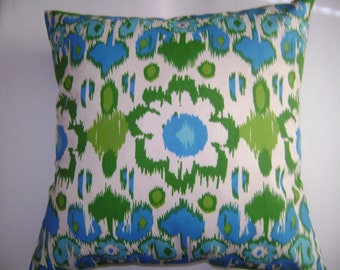 CLEARANCE -  Floral Pillow Cover, 18''x18'' Blue Floral Pillow Cover, Green Floral Pillow Cover