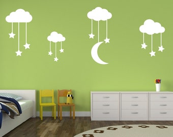 Nursery Wall Decal - Stars and Moon Wall Decal - Childrens Decor - Nursery Decor - Cloud Wall Decal - Vinyl Wall Decal