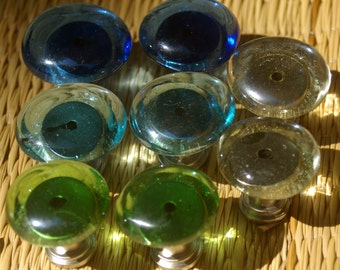 Knobs, Glass Knobs, Cabinet Knobs, Glass knobs, Beach Glass, Kitchen, Bathroom, Cabinet Fixture, Colored Glass